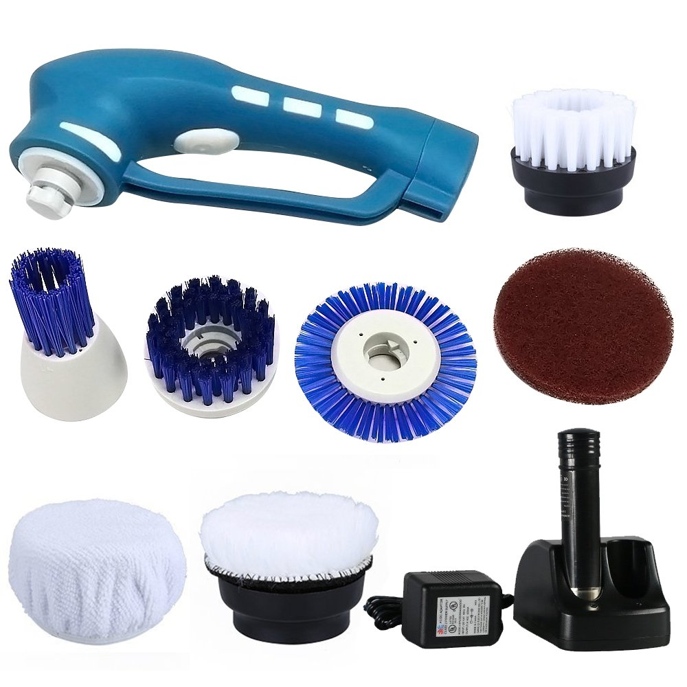 Spin Scrubber, Handheld Cordless Household Power Scrubber - 6 brushes, 1 Scouring Pad and 1 Rechargeable Battery Included, For Kitchen, Bathroom