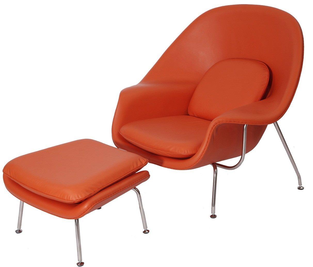 Get Quotations · MLF Premium Version Eero Saarinen Womb Chair U0026 Ottoman.  Italian Leather U0026 PU Foam.