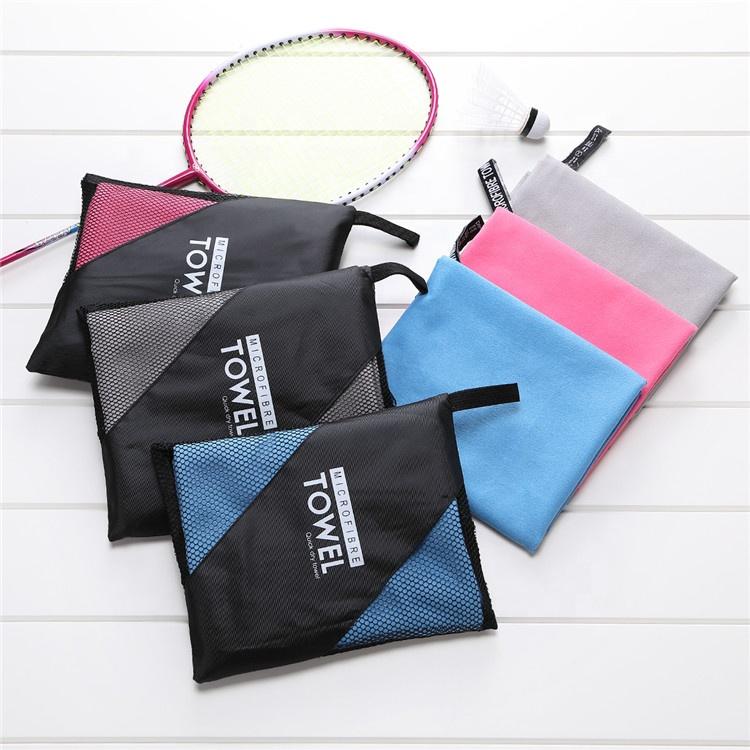 Özel Toptan Stok Logo OEM Hızlı Kuruyan Hafif Spor Spor Seyahat Kamp Mikrofiber Kurutma Spor Havlu