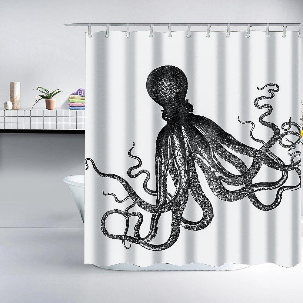 Gray Kraken Octopus Shower Curtain
