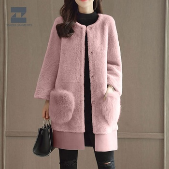 China manufacturer long simple and stylish ladies outdoor coat cheap fur coat