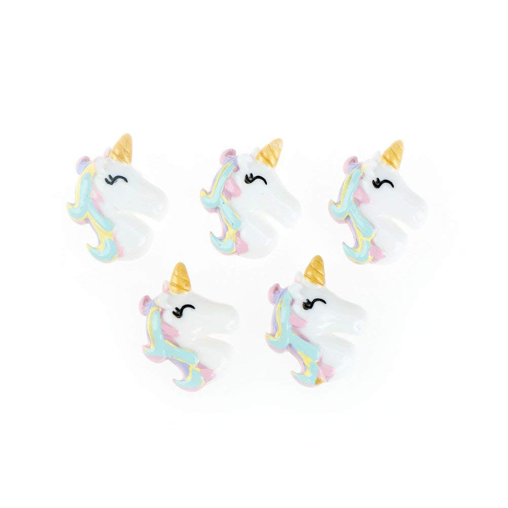 DINGJIN 5 Pcs Unicorn Slime Charms Beads,Unicorn Flatback Resin Cabochon Craft for for DIY Hair Clip Decor,Colorful