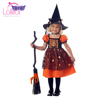 Good quality customized witch dress up halloween costumes for girls