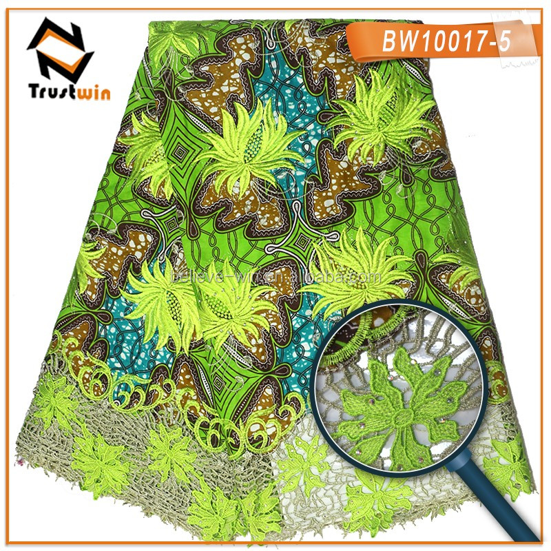 Top sale africa ankara wax with guipure fashion fabric of BW10017