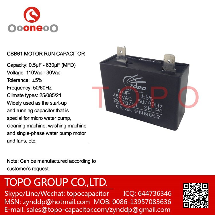 20MF 450V Run Capacitor Double or Single Faston Connect