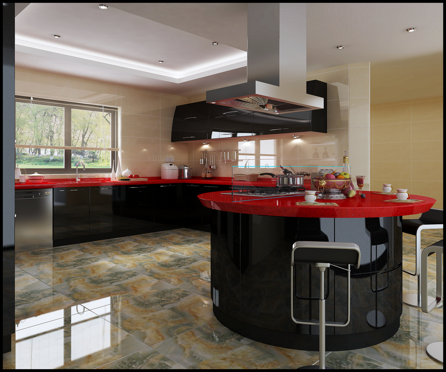 High Glossy Black Lacquer Modular Kitchen Cabinets - Buy ...