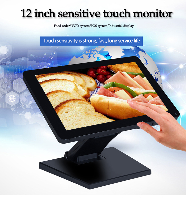 "OEM HD Widescreen 12"" TFT LCD Monitor Cheap 12.1 inch Led Sensitive Touch Screen Monitor"