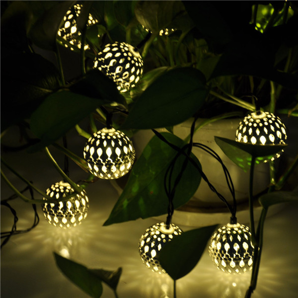 10 Balls Moroccan Solar String Lanterns Christmas Tree Indoor ...