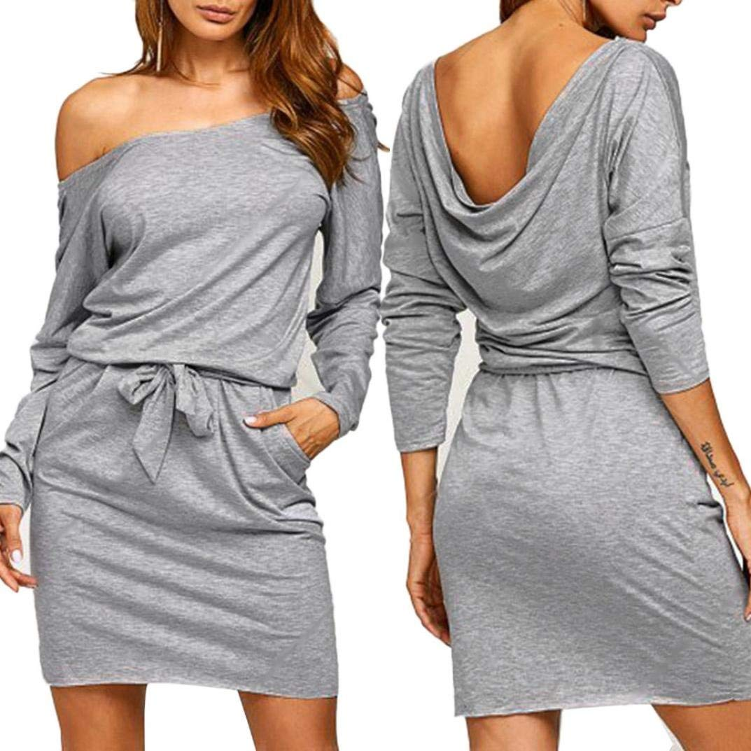 cf6a919bc3 Get Quotations · Twinsmall Sexy Off Shoulder Long Sleeve Bodycon Midi  Dresses for Women Evening Party Mini Dress