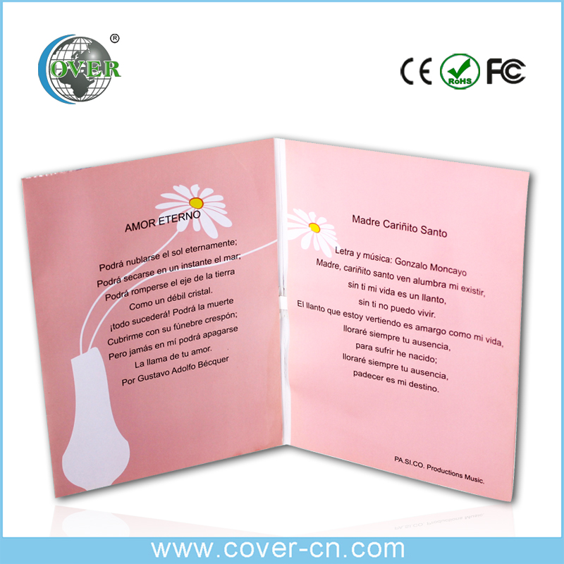 Promotional programme handmade voice greeting card with music for happy birthday