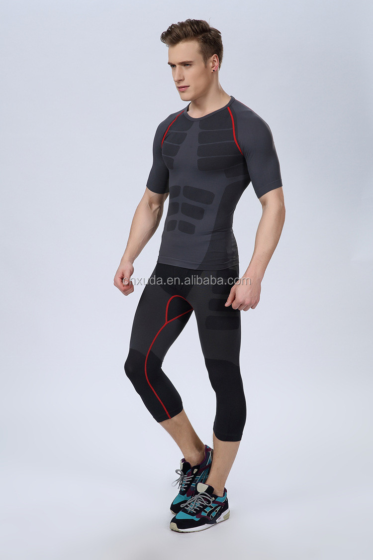 Slim Fit Dri-fit Compression Workouts Shirt Men Short Sleeve Gym Shirt