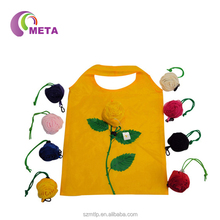 Rose Shape Promotional Eco Reusable Recycled Polyester foldable Bag