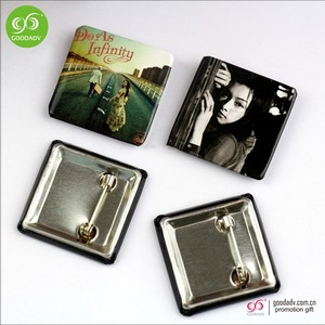 Manufacturer customized square tin button badge