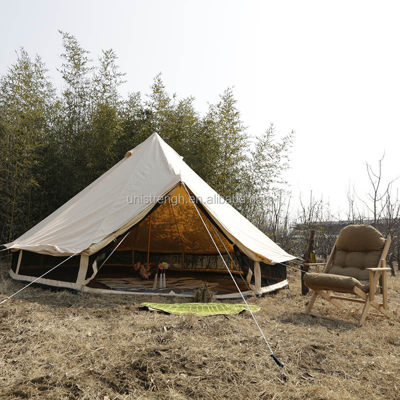 Summer Holiday Bell Tent Round Floor Outdoor Glamping Bell Tent