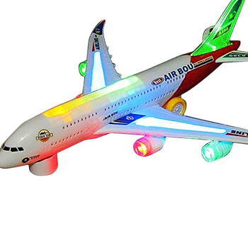 Airplane Airbus Toy with Beautiful Attractive Flashing Lights and Realistic Jet Engine Sounds , Bump and Go Action Battery