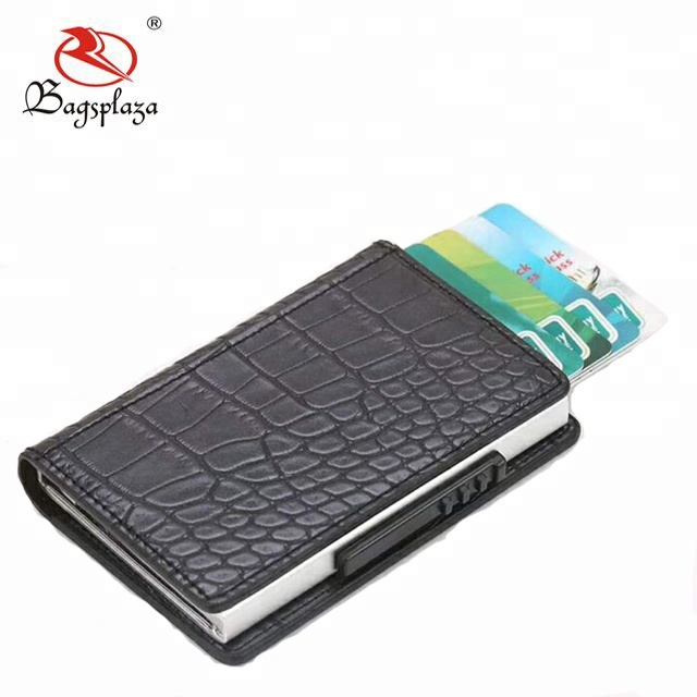 New model cheap mini wallet pop up credit card plain PU leather mini automatic snake skin wallet for <strong>men</strong>