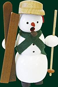 Smoking figure Christmas Erzgebirge smoking man snow man with skis 26103 NEW