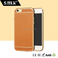 Electroplating leather PC phone case for iphone 6 4.7 inch phone cover