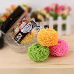 Plastic Dish Scrubber,New Style Multi-color Kitchen Cleaning Scourer Polyester Fiber Ball