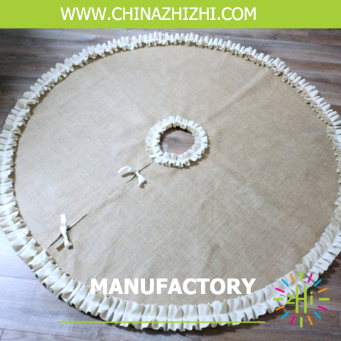 Yiwu China Manufacturers Supplier Merry Coastmas Stenciled and Rustic Burlap Christmas Tree Skirt Kit For Decoration