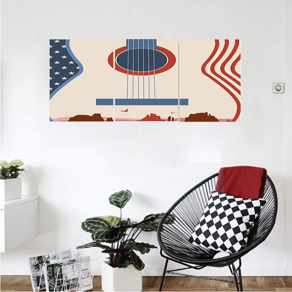 Liguo88 Custom canvas Music Decor Country Music Festival Event Illustration Guitar With American Flag Design Inspiration Bedroom Living Room Decor Cream Red Blue