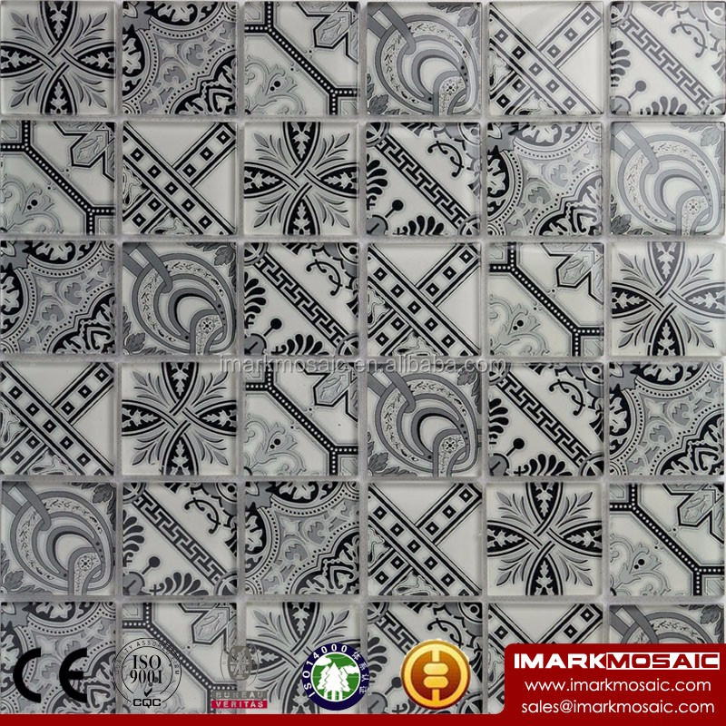 CLIO Moroccan Style Glass Mosaic Tile Encaustic Cement Stylish Glass Mosaic Tile Black And White Color Flower Mosaic Tile