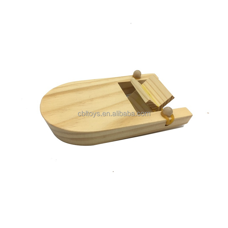 DIY rubber band wooden paddle science educational toys boat for children learning