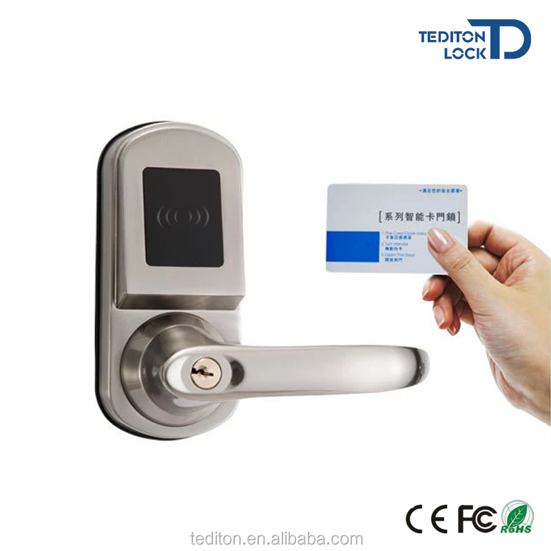 Waterproof Keyless Small Electronic Popular Hotel door lock system with rfid card 125KHz or 13.56MHz