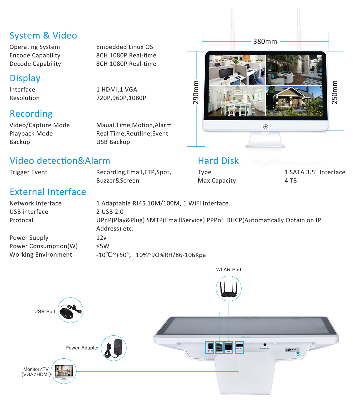 High Quality 8CH 2MP 1080P smart home CCTV security system waterproof outdoor wifi ip camera NVR kit with 15 inch monitor
