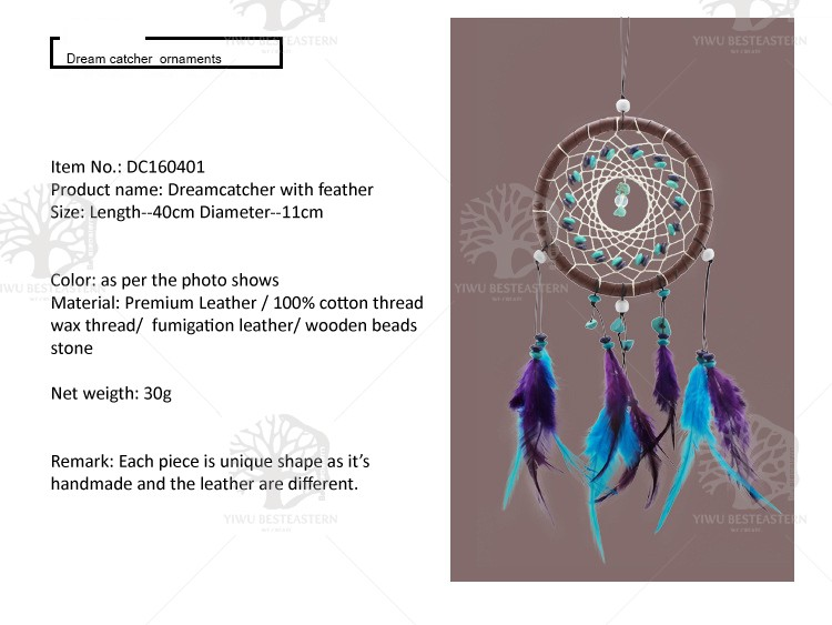 Handmade Dream Catcher Net With Feathers Wall Hanging Decoration Ornament
