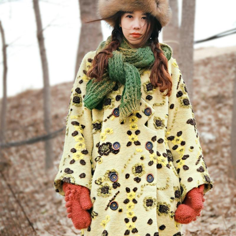 [ LYNETTE'S CHINOISERIE - мок ] женщин полный шерсть винтаж вышитые кашемировые пальто