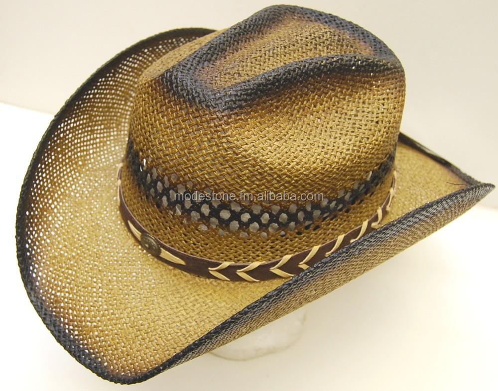 Modestone Felt Feel Cowboy Hat Leather-Like Appliques Rhinestones Brown