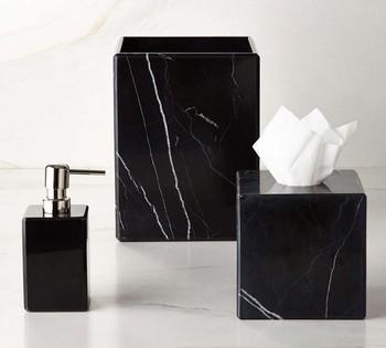 Black Marble Bath Ware Bathroom Accessories Set Liquid Soap Dispenser Natural Stone Tumbler Mug Toilet Brush