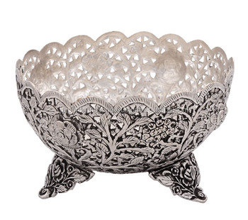 Mughal Style Fruit & Flower Metal Bowl For Decoration - Buy ...