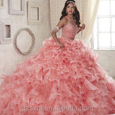 9e4618013 Vestido de boda de lujo del rhinestone bola Rosa burbuja Guangzhou vestido  de novia