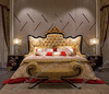 Carved European Gold wood luxury bed designs / italian bed room furniture set New 2017