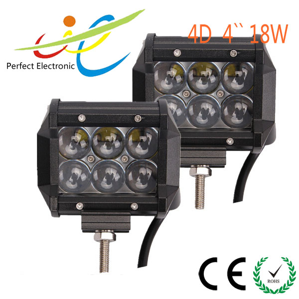 4''18W 4D Led Light Bar High Beam Pattern 6*3W Cree Leds for Off Road JEEP SUV ATV Truck Pick-up 12V 24V IP68