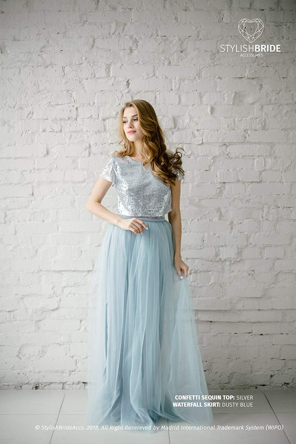 1befee7414ff Get Quotations · Silver Sequin Tulle Bridesmaid Dress with Dusty Blue #136  Tulle Skirt, Silver Sequin Top