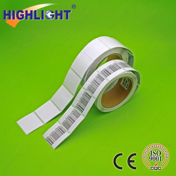 Self adhesive EAS soft label/ EAS RF anti shoplifting barcode label/ 4*4cm soft label 8.2MHz