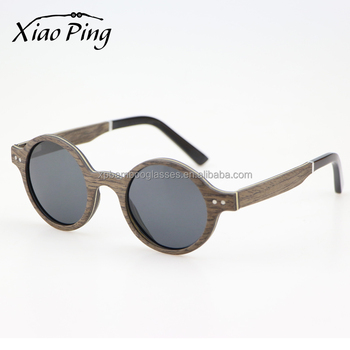 Fashion Low Moq Round Black Walnut Wood Eyewear Sunglasses With Grey Polarized Lens