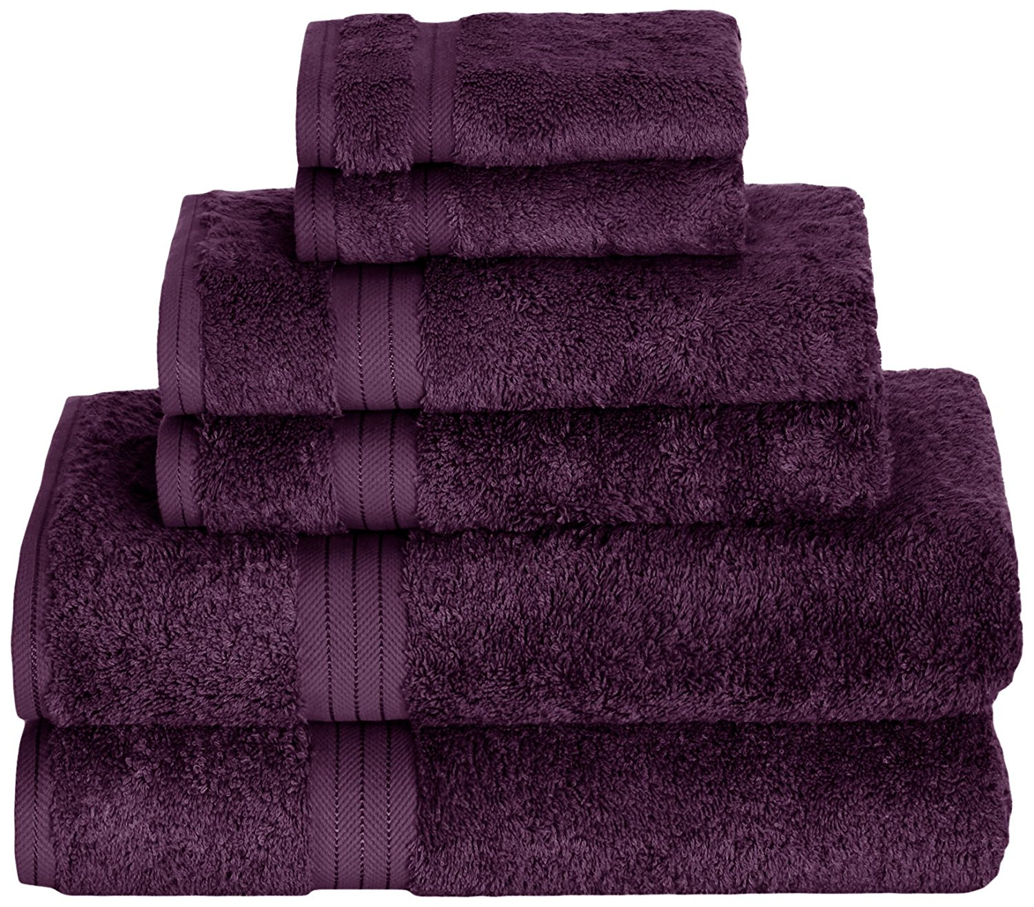 Daisy House Rayon Derived from Bamboo Towel Set (2 bath, 2 hand & 2 wash), Exotic Orchid