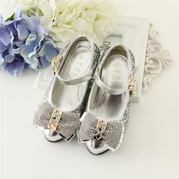 Blingbling Дети партия обуви серебряные и золотые туфли на высоких каблуках  для девочек 9bdfc066ffd