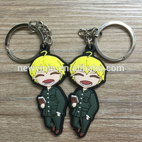2015 cute christmas promotion gift: football PVC keychain attached with high quality ring