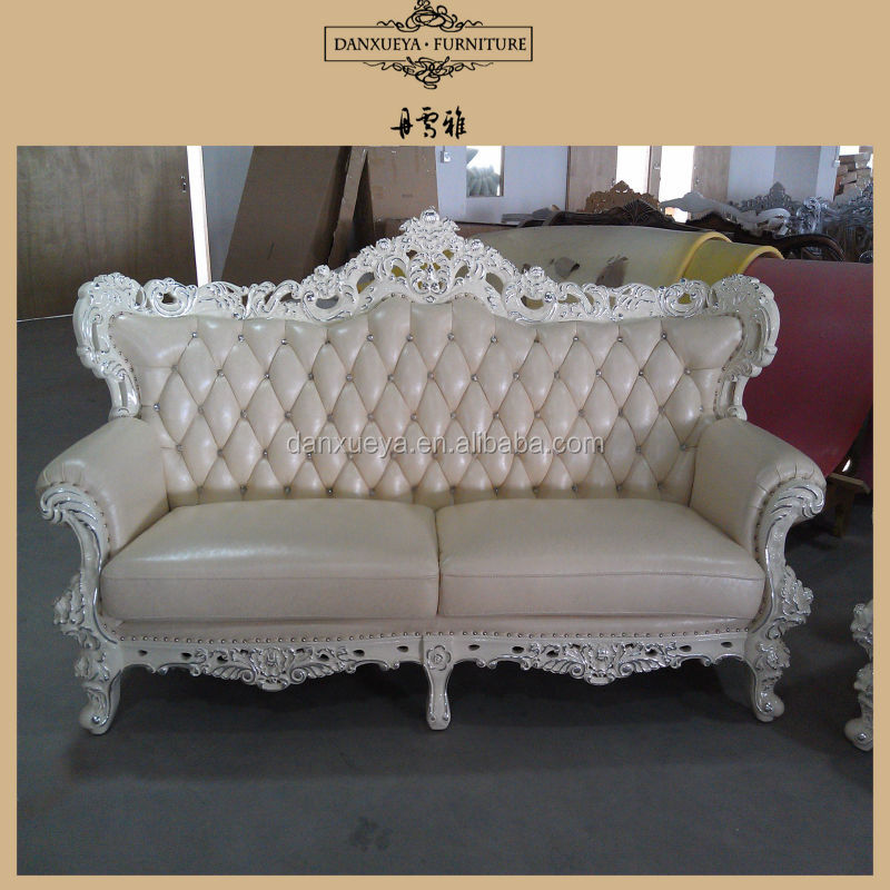 Pure Leather Sofa Sets: Luxury Silver Leaf White Pure Leather Wedding Event Sofa