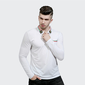 Cotton Ribbing Collar Button Breast Pocket White Plain Men Custom Polo tshirts(A826)