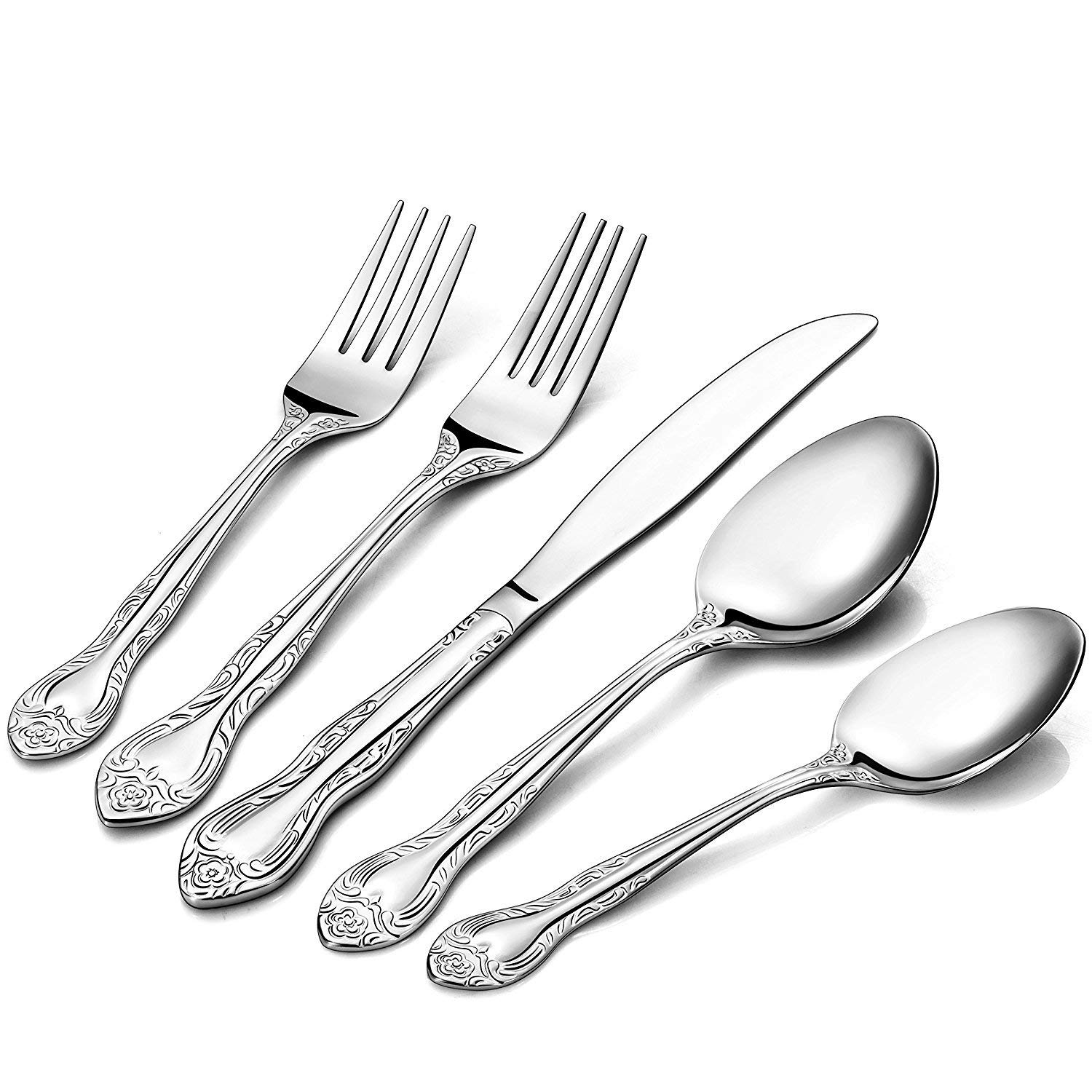 Silver Crown Town & Country Pattern Stainless Steel Cutlery Flatware, 20-Piece Silverware Set, Service for 4