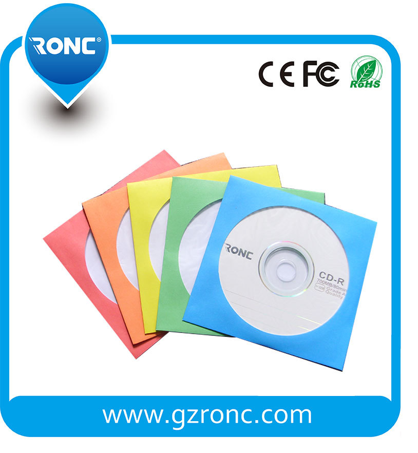 Color CD DVD Paper Sleeves with Clear Window