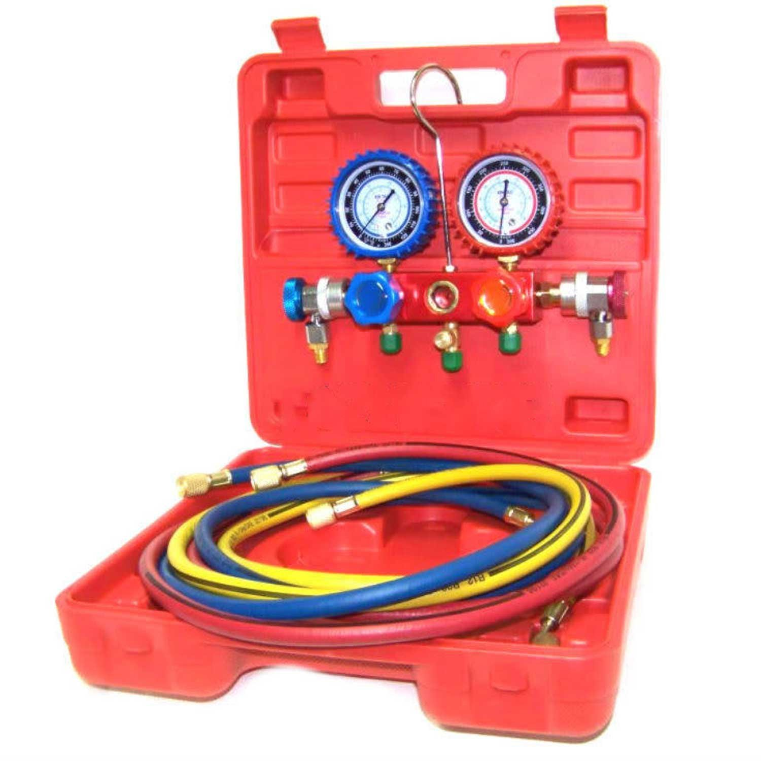 1//4 SAE HVAC DEDC Adjustable R134A Adapter Fittings Quick Coupler High Low AC Freon Manifold Gauge Hose Conversion kit