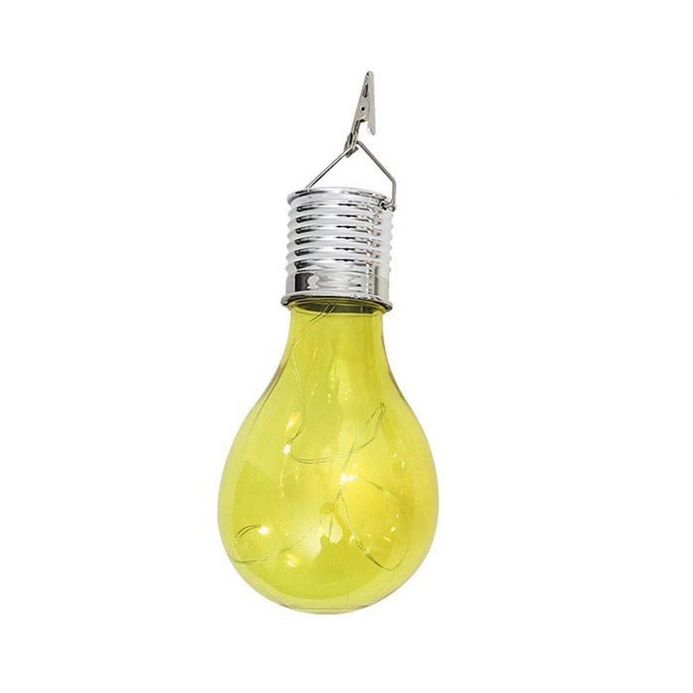 Yezijin Light Bulb, String Light, Waterproof Solar Rotatable Outdoor Garden Camping Hanging LED Light Lamp Bulb (Yellow)