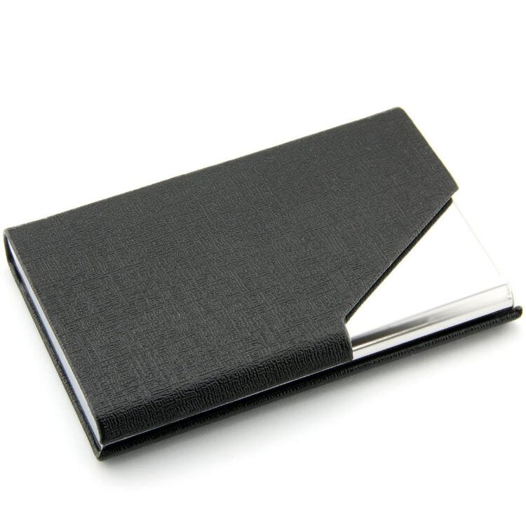 SZT0086 black business name card holder case PU leather wallet credit card ID organizer